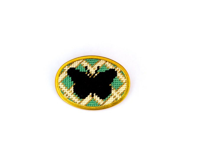 SALE! DIY Needlepoint Jewelry Kits: Butterfly with Lattice Pin