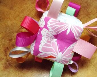 Pink Aztec Baby Block Toy, Meadow Flowers Aztec Antlers Butterflies Arrows, Golden Yellow, Aqua, Lavender, Mint Green, Sensory Ribbon Rattle