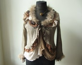 Brown Shabby Chic Cardigan, Upcycled Sweaters, Gypsy Chic Lace Sweater, Tattered Boho Jumper, Repurposed Clothing, Anthropologie Style Tops