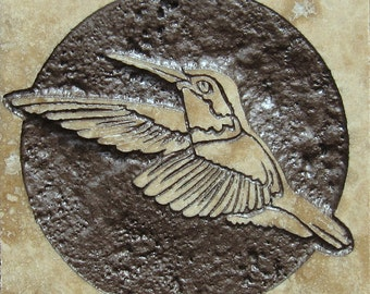 4x4 Hummingbird Tile - Etched Travertine Stone Decorative Tile