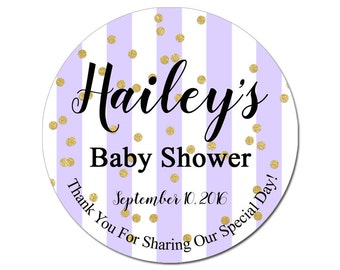 Custom Baby Shower Labels Personalized Purple Lavender Stripes and Gold Confetti Round Glossy Designer Stickers - Quantity 100