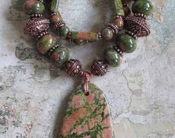 Unakite and Copper Necklace- Statement necklace genuine Unakite solid Copper