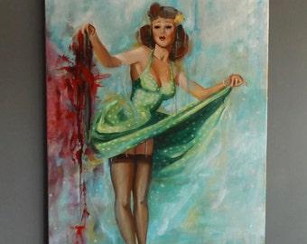 Original Pin Up Acrylic Painting