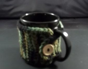 Mug Cozy/Mug Hug-Crochet-Green Camo