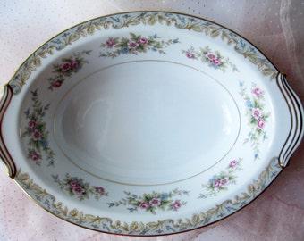 Vintage Serving Bowl Noritake Somerset Pink Blue Floral - Weddings Bridal