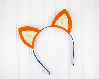 Fox Ears Headband Orange Felt Fox Ears Costume Headband