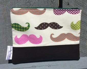 Zipper pouch, Free shipping, pencil case, moustache zipper pouch, zip bag, makeup clutch, art supplies bag, zippered bag, pencil case