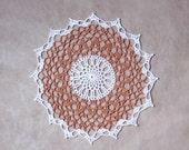 Rustic Modern Lace Crochet Doily, New Home Decor, Light Brown Copper, White