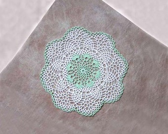 Mint Green Decor Crochet Lace Doily, Chantilly Pineapple Design, New Table Topper, Cottage Chic