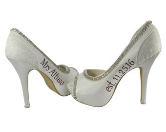 Ivory or White Bridal Wedding Heels, Diamonte Rhinestone Bride Shoes with personalized Name /Date , Burgundy, 2 , 3 inch, 4 inch peep toe