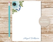 personalized floral notepad . turquoise watercolor anemone . flower note pad . personalized stationery . womens stationary . botanical