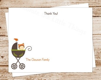 PRINTABLE baby thank you cards . fox baby . FLAT note cards . notecards . stationery stationary . baby carriage stroller . You Print