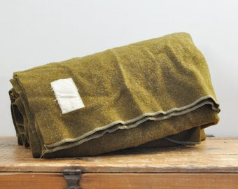 Vintage Korean War Medical 1953 Chatham Mfg Army Olive Drab Green Wool Blanket