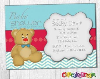 Teddy Bear Invitation Boy Baby Shower