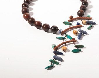 "Brown Horn Beads Necklace,Sodalite and Turquoise from my ""Mobile"" series"
