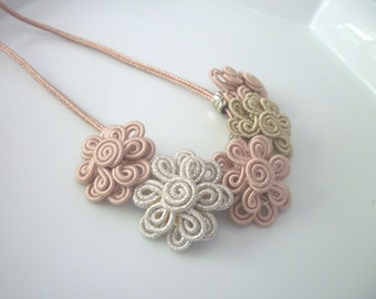 Moroccan soutache flower necklace, art silk, pale pink , bronze and silver, summer necklace