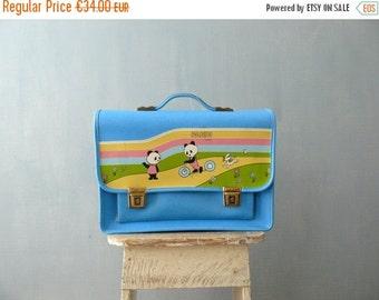 CLOSING SHOP 50% SALE / Vintage school bag. Leatherette briefcase. Blue children school bag
