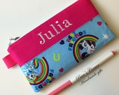 Handmade pencil pouch with zipper - My little pony - Rainbow dash - embroidery monogram name - storage bag - personalized pencil bag