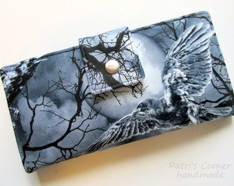 Handmade womens wallet - ravens on tree branches - storm clouds with a full moon - ID clear pocket - Ready to ship