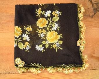 black yellow turkish scarf, flower trim, oya