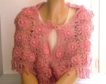 pink flower shawl