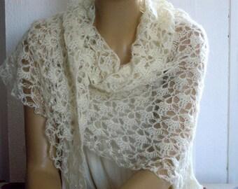 cream crochet lace shawl