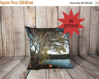 Summer Sale Decorative Nature Pillow Covers, Scenic Photo Cushion Case, Man Cave Decor, Lake House Cottage Accent, Handmade in Canada,Green