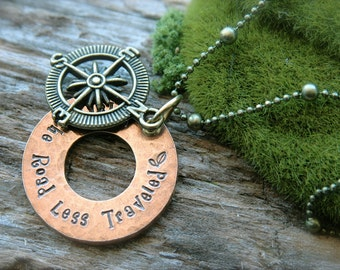 Compass Take the Road Less Traveled Vintage Necklace