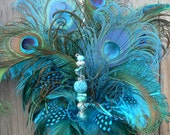 Peacock Feather Cake Topper with Jewels in Turquoise Aqua Teal Coordinating Feathers