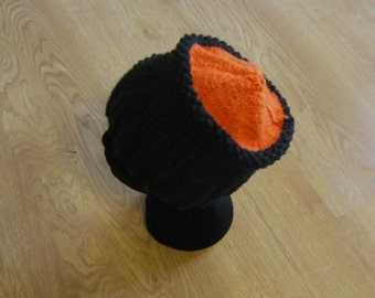 Bold and Beautiful Black and Orange Knitted Hat