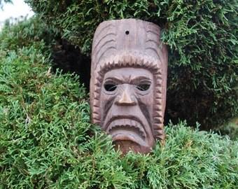 Vintage Primitive Guatemalan Fierce Warrior, Aztec, Mayan Warrior Hand Carved Wood Folk Art Dancing Mask w/ wonderful Detailed Carving