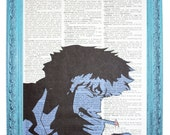 vintage dictionary art ink print 7.75x10.75 inches - cowboy bebop spike spiegel smoking opening dictionary page prints on dictionary paper