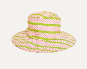 Vintage 60s MOD Striped Cotton HAT / 1960s Op Art Print Wide Brim Hat
