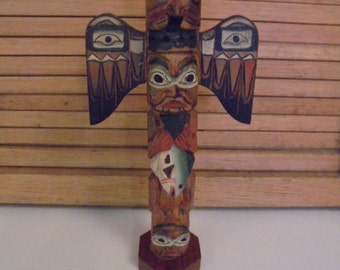 Vintage Alaskan Totem by Native Carver, Patrick Seale