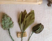 Antique Millinery Supplies. Green Leaves Bay & Floral Leaves Old New Stock Flower Market/ Vintage Millinener