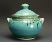 Handcrafted pottery soup tureen stoneware casserole 2 quart turquoise 2790