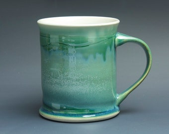 Pottery coffee mug, ceramic mug, stoneware tea cup jade green 14 oz 3472