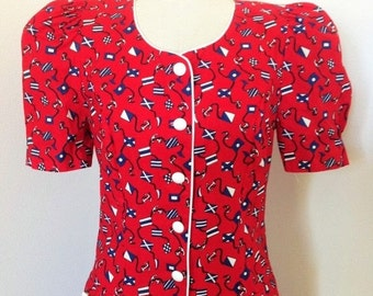 50% OFF SALE Vintage 1980's Red Flag Day Dress / Novelty Print Jumper Culottes Style Romper Dress / Size Medium
