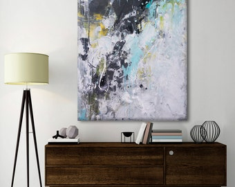 painting Abstract seascape Painting- Gentle spring -Large seascape landscape white black turquoise painting modern wall art Elena 40x30