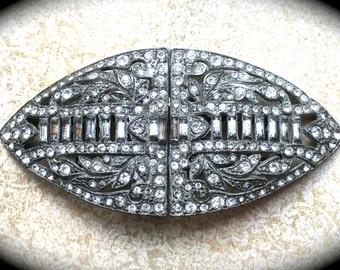 Large Duette Vintage Brooch Clip- Pave Rhinestone Brooch-Vintage Designer Jewelry- Estate Brooch- Clear Rhinestone Brooch Pin Clip- Coro Pin