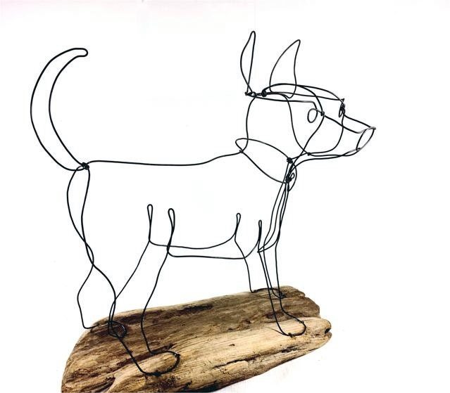 Reserved chihuahua dog wire sculpture folk wire art dog for Dog wire art