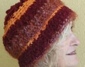Maroon and Orange Original Crochet Hat Unique Maroon Matching Scarf Special Order