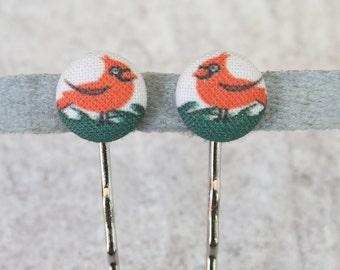 Cardinal Fabric Button Bobby Pin Pair