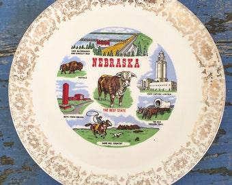 Vintage Souvenir Plate Nebraska