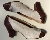 1930s-40s brown & white peep-toe spectator heels