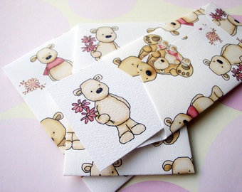 Teddy Bear Mini Cards and Envelopes - Set of 10