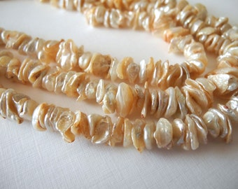 Freshwater Keishi Pearls Center Drill Keshi Peach Champagne Petal Pearls 8mm Full Strand