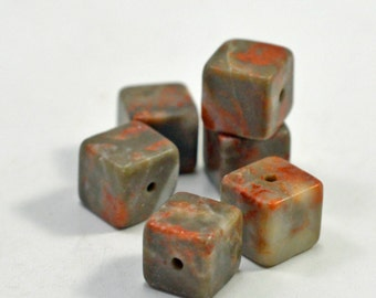 Sunset jasper cube beads, 8mm - #1642