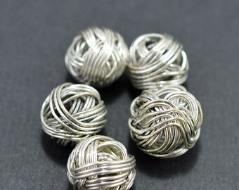 Silver plated wire wrapped beads, 8mm - #1936