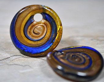 Murano style foil circle pendants, blue/olive/gold, 38mm, # 466